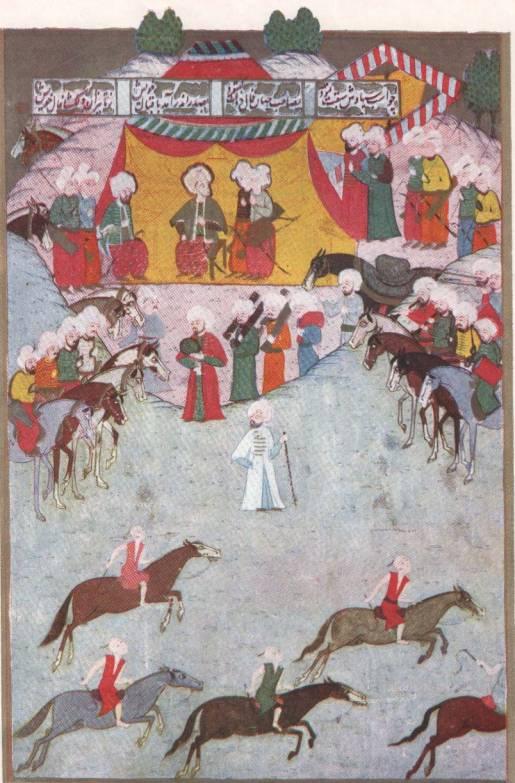 16ncı Yüzyıl'da Istanbul'da bir at koşusu sahnesi... Şehinşâhnâme